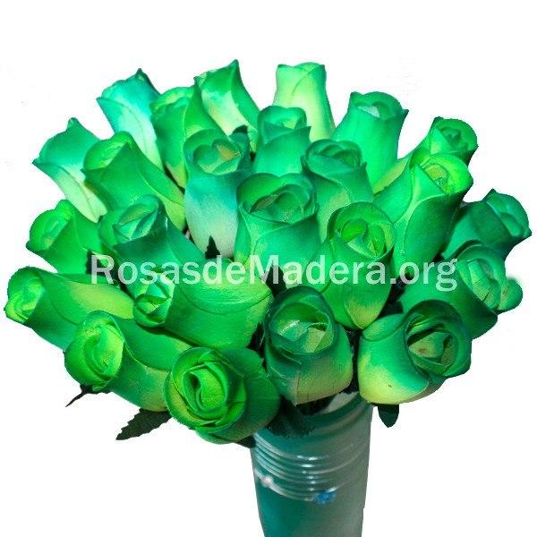 Rosa verde de madera