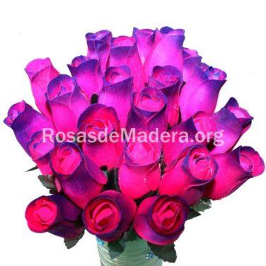 Rosa fucsia y morada de madera