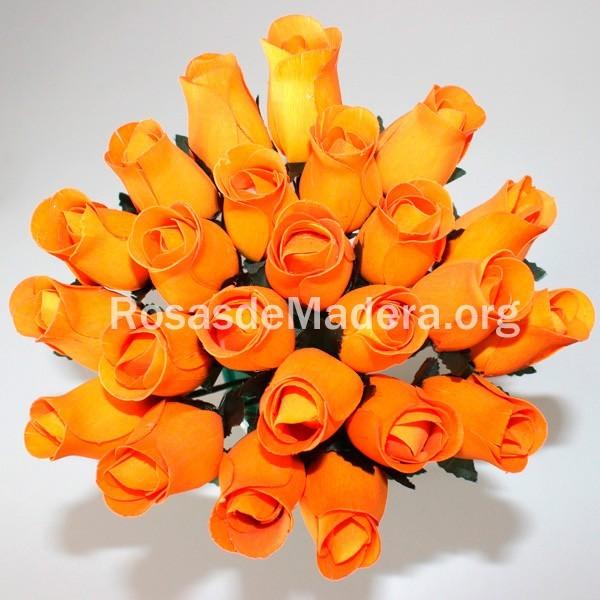 Rosa naranja de madera