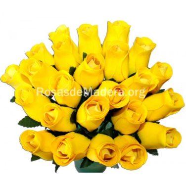 Rosa amarilla de madera