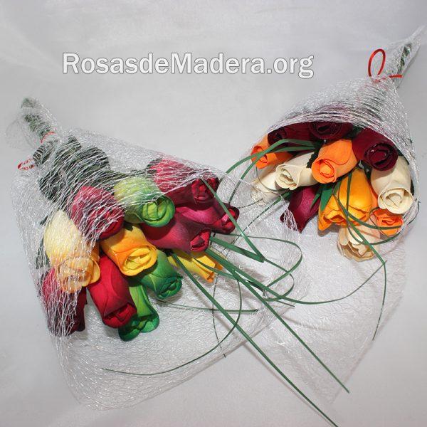 Ramito rosas de madera