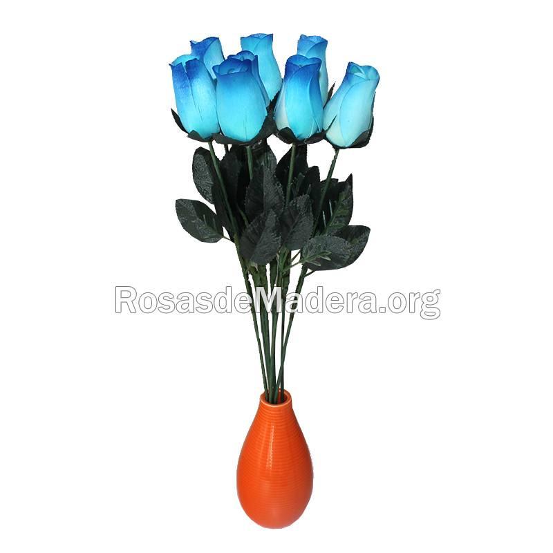 Rosa azul de madera