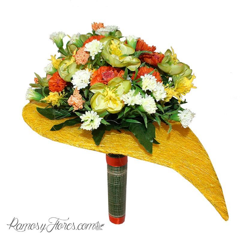 Ramo artificial KRAVI: flores silvestres en tonos amarillos, naranjas