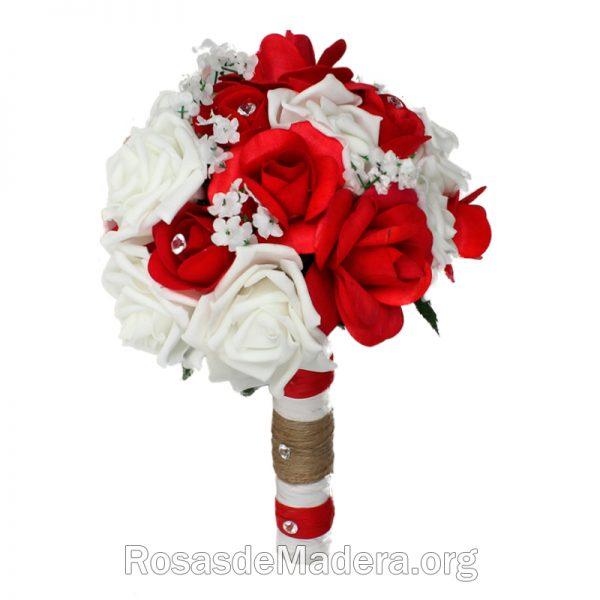 Ramo bouquet de rosas rojas y blancas