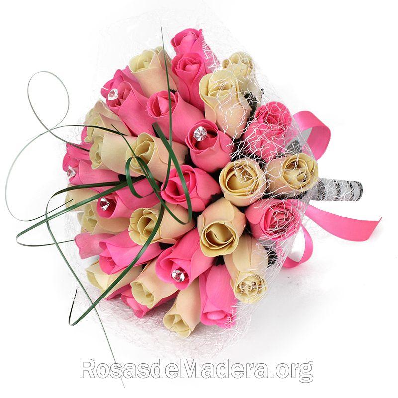 Ramo De Rosas Dulce Rosas Y Flores De Madera - Imagenes-de-ramos-de-rosas-blancas