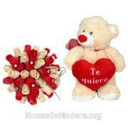 Rosas rojas y blancas y peluche